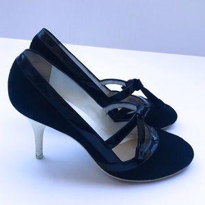 Chanel Black Patent Trim Suede Logo MaryJane Heels
